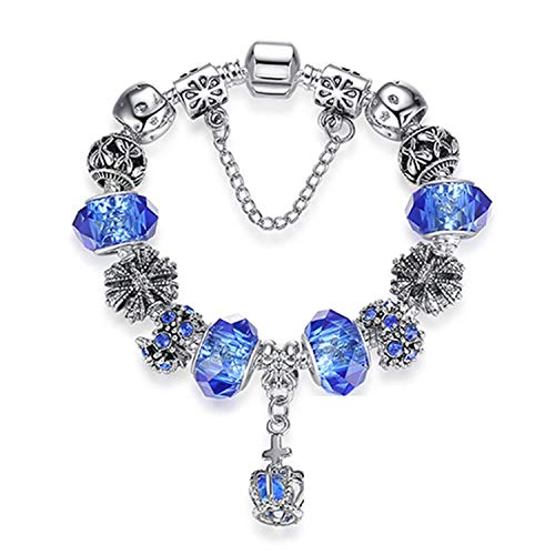 Olive Tayl 4 Style European Fashion 925 Classic Silver Charm Bracelet with Murano Glass Beads Bracelets for Women Original DIY Jewelry Gift,PS3788blue20cm