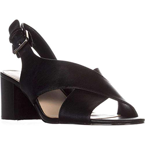 (Nine West Womens 7 Goinstead Open Toe Casual Slingback Sandals, Black, Size 9.5)