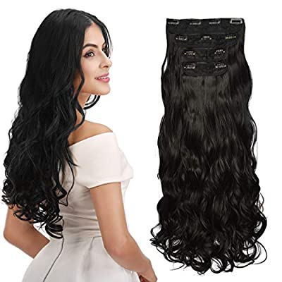 REECHO Hair Extensions Clip in Straight Curly Wavy 4 PCS Set Thick Hairpiece