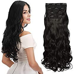 "REECHO 16"" Curly Wavy 4 Pieces Set Clip in Hair Extensions Natural Black"
