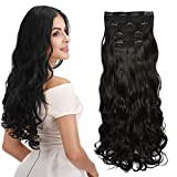 #3: REECHO Hair Extensions Clip in Straight Curly Wavy 4 PCS Set Thick Hairpiece