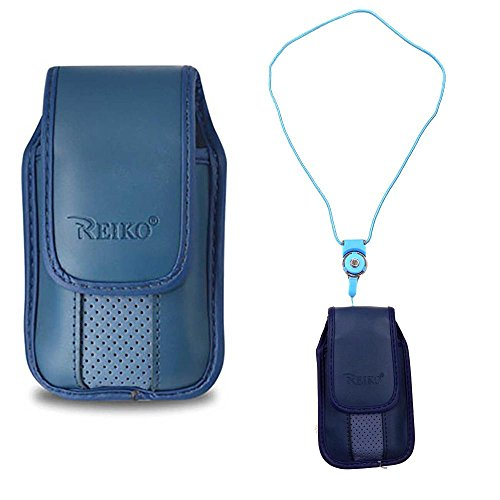 (Blue around the Neck Hanging Lanyard Magnetic Top Case fits Cingular Flip 2)