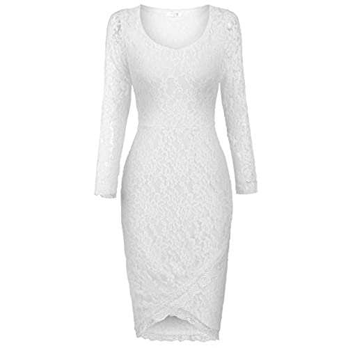 ANGVNS Eternity Womens Long Sleeves Sheer Back Slim Lace Clubwear Cocktail Dress, White (Small)