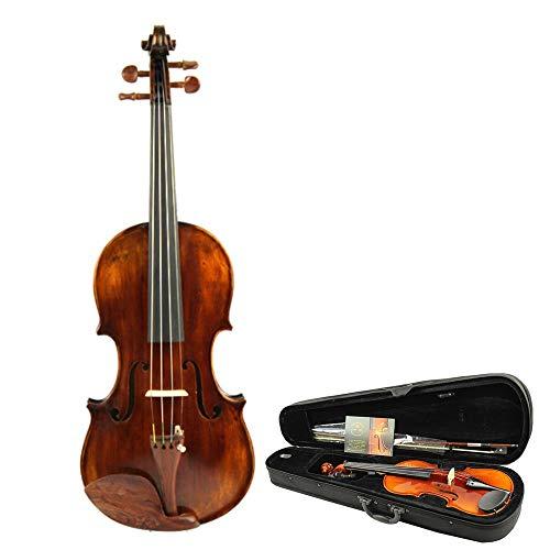 Colour Matt Finish - Violin Advanced Solid Spruce Wood Handmade Fiddle Kit 4/4 Full Size Professional Grade Violin With Bow Hard Case Matt Finish Student Beginner Acoustic Violin Wood Violin ( Color : Wood , Size : 4/4 )