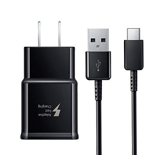 (Vertebraid Adaptive Fast Wall Charger Adapter with USB Type C to A Cable Cord Compatible Samsung Galaxy S10 / S9 / S9+ / S8 / S8 Plus/Active/Note 8 / Note 9 and More(Black))