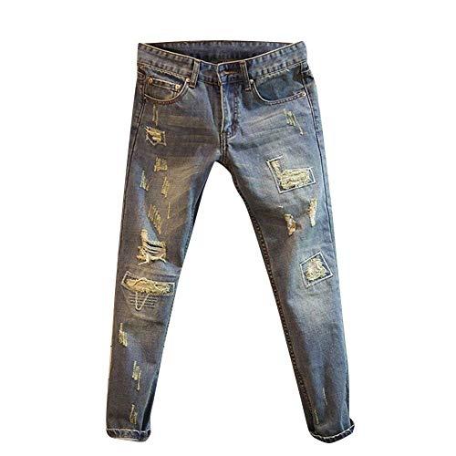 Strappati Lunghi Sottili Dritti Hellblau Stile Pantaloni Da Retrò Skinny Jeans Semplice Attillati Uomo Denim In Lanceyy tqTwpz7U