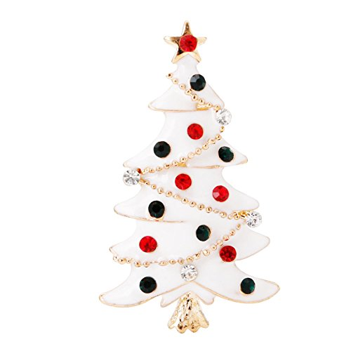 (SCASTOE Vintage Christmas Tree Brooch Rhinestone Pin Charm Fashion Women Jewelry Gift)