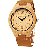 shifenmei S2140 Natural Bamboo Wooden Watches Super Lightweight Leather Casual Wood Wrist Watches Unisex with Gift Box (Natural Color)