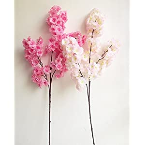 jiumengya 5pcs Cherry Flower Begonia Cherry Fake 100cm Long Stem Pleiopetalous Sakura More Flower Heads for Wedding Party Home Artificial Decorative Flowers 3