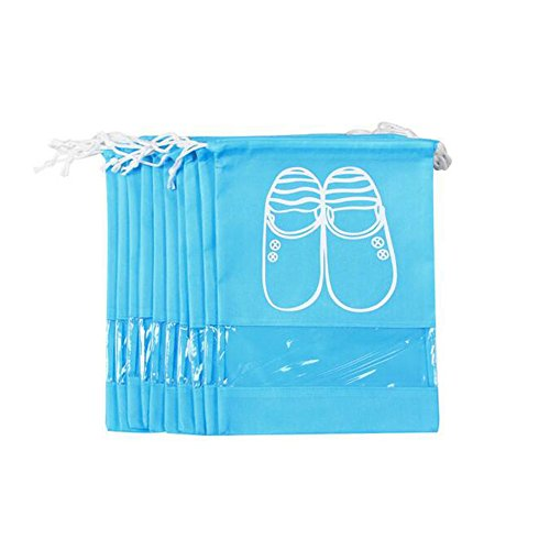 Pack of 10 Dust-proof Breathable Travel Shoe Organizer Bags for Boots, High Heel - Drawstring, Transparent Window, Space Saving Storage Bags, Medium Size, Sky Blue by WESTONETEK (Image #5)