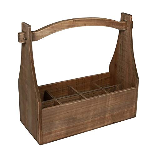 Basket Bins 8 Compartment Storage with High Handle - Hand-Crafted Wood Storage Crate - Brown