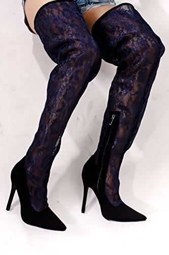 Lolli Couture Per Sempre Allacciati In Ecopelle Allacciati Stile Da Combattimento Lungo Con Stivali Al Ginocchio Sul Tallone Alti Blacebluelace-m48-7