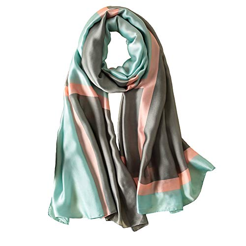 100% Silk Scarf - Women's Fashion Large Sunscreen Shawls Wraps - Lightweight Floral Pattern Satin for Headscarf&Neck (Geometric pattern-green)