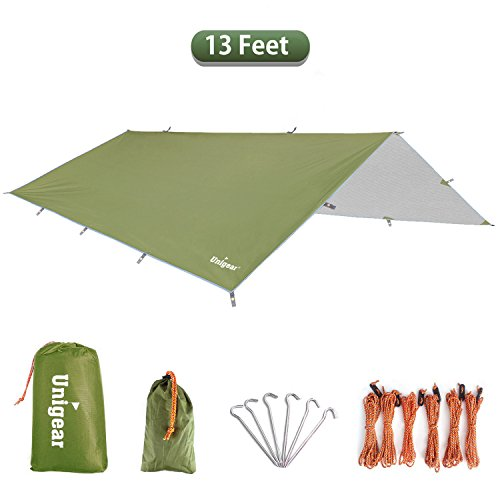 Unigear Hammock Rain Fly Waterproof Tent Tarp Camping Backpacking Tarp Shelter, Lightweight for Survival Gear, 6 Stakes and Ropes Included (Green 13 FEET, 157x120inch)