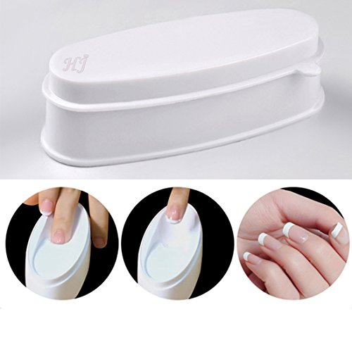 (ABS Durable Easy French Dip Tray Dipping Powder Container Dual Use for Short Extended Nails Molding for White Pink Smile Line Pack of 1, HJ-NAT117)