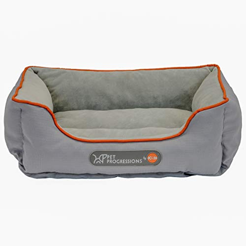 Pet Progressions by K&H Waterproof Puppy Bolster Pet Bed Small Grey - Piddle Proof, Stain & Odor Resistant, and Tear Resistant for Puppies & Adult Dogs