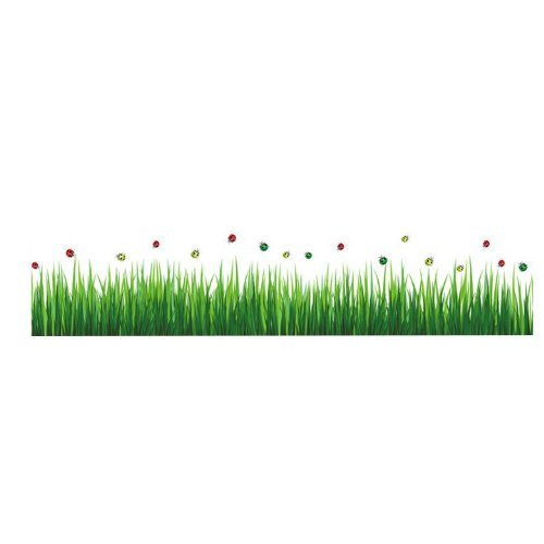 Createforlife Home Decoration Art Vinyl Mural Wall Sticker Decal Ladybug Green Grass Border Decal Paper Ladybug Wall Murals