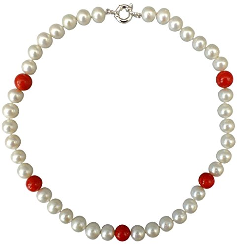 (Attractive and Unique, White 9-10mm Baroque Cultured Pearl and Red Coral Necklace with a Silver Clasp)
