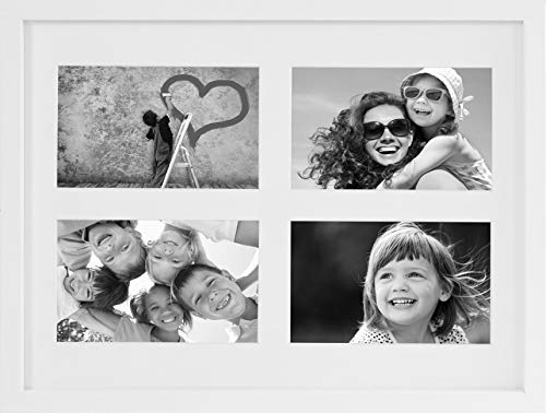 BD ART 11x14-Inch 4 Aperture White Collage Picture Frame with Mat for 4 Photos 4x6-Inch (Photo Collage Frame Cream)