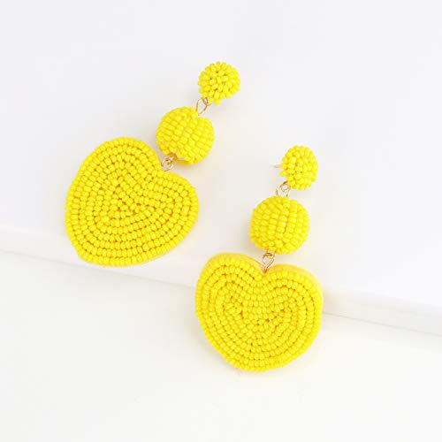 Heart Yellow Statement Round Beaded Hoop Bohemia Earrings Handmade Tassel Fringe Drop Dangle Flower Chandelier Vintage Stud Earrings Gifts for Mom,Women Girls
