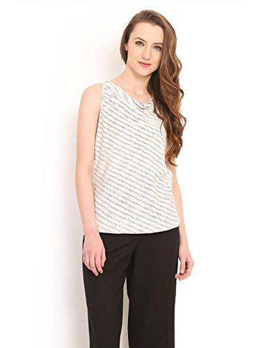 Diagonal Stripe Woven Shirt - Saiesta Summer Top For Women's Diagonal Ikat Print Woven No Sleeve Cowl Neck Stripe Top XL White & Black