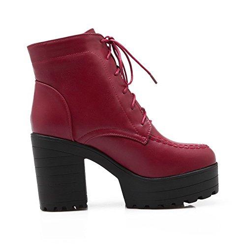 AllhqFashion Mujeres Puntera Cerrada Caña Baja Tacón Alto Sólido Pu Botas Rojo
