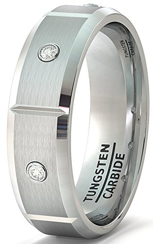 Duke Collections Mens Wedding Band 8mm Tungsten Ring Beveled Edge Satin Sectioned with Cubic Zircon Comfort Fit (9.5)