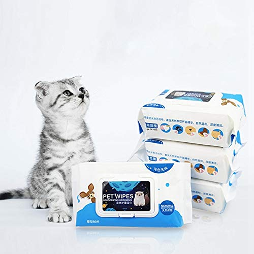 V-HOUE Dog Housebreaking 80pcs Pet Cat Eye Wet Wipes Cats Cleaning Wipes Dedicated Wet Tissue Napkin Dog Hygienic Welette Pets Eye Supplies