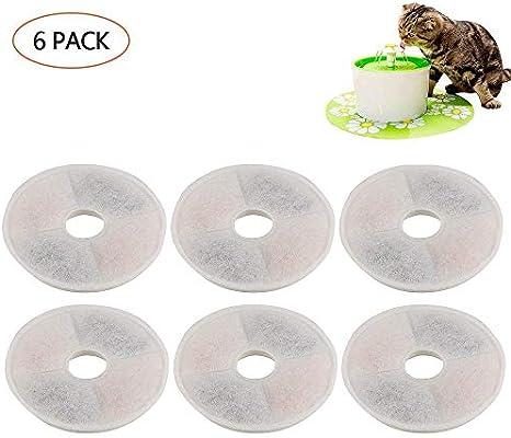 FOONEE Filtros compatibles con la Fuente de Flores de Catit – 6 Paquetes de filtros de Repuesto para Fuente de Agua para Mascotas de Alto Rendimiento para ...