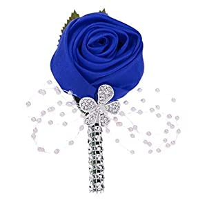 Jili Online Multi-color Artificial Flower Wedding Corsage Buttonhole Boutonniere Roses/Lily 12