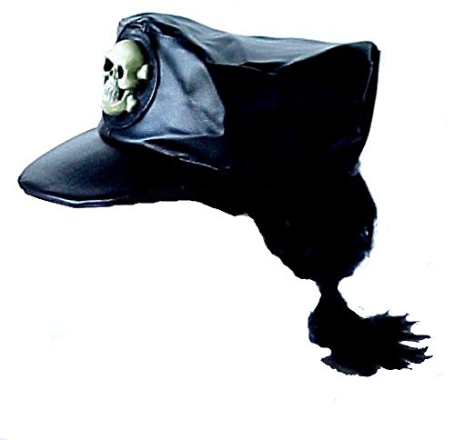 [Biker or Pirate Skull Hat with Pony Tail] (Adult Biker Hat)
