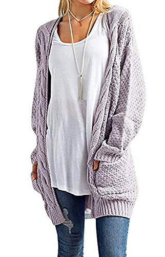 Ashuai Womens Open Front Cardigan Chunky Long Sleeve Cable Knit Sweater Boyfriend Blouse with Pockets Purple ()