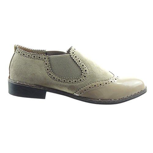 Sopily - damen Mode Schuhe Sneaker Chelsea Boots bi-Material Patent Perforiert - Khaki vsIPkOFdQU