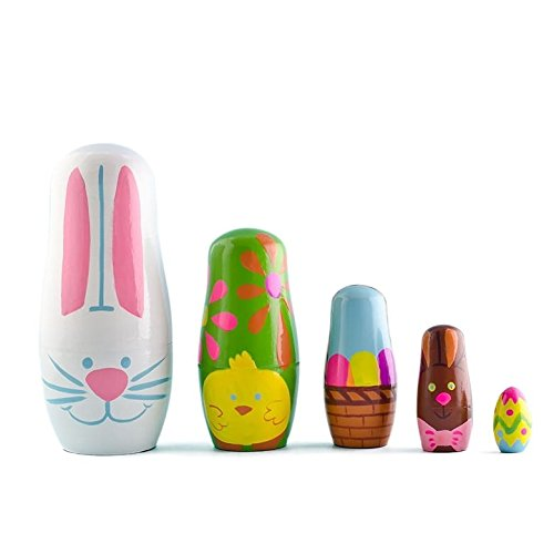 """5"""" Set of 5 Easter Bunny with Chick and Easter Egg Wooden Nesting Dolls Matryoshka"""