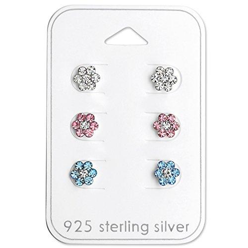 Hypoallergenic (SET OF 3) Clear, Pink, Blue Flower Stud Earrings for Girls or Women 29116 (Sterling Silver Girl)