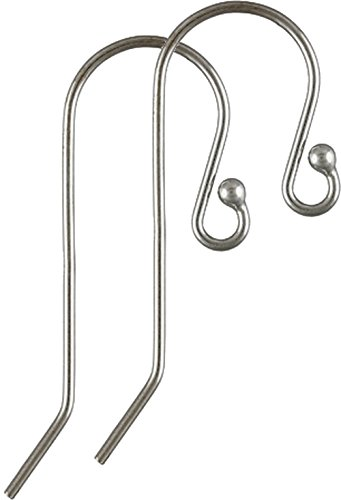 .925 Sterling Silver Ear Wire with 1.6 mm Ball French Hook Earring ~ Wire 0.66 mm/AWG 22 Gauge ~ Size 12 x 25 mm by BEEZZY BEEDZ (5 pairs)