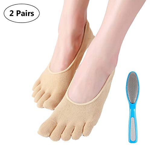 5-Toe Moisturizing Gel Socks for Dry Feet,Give Foot File Free,SPA Socks Repair Cracked Skin and Exfoliate Skin,Soften Beauty and Feet for Women Overnight,Khaki by LANGFON