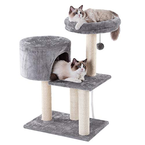 BESTLE Cat Tree and Condos with Sisal-Covered Scratching Posts, Plush Perches, Tower, Furniture and House for Kittens, Cats and Pets (Condo 24 Cat Inches Tower)