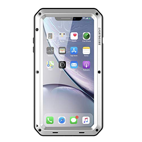 Phone XR Case LIGHTDESIRE Aluminum Protective Metal Extreme Water Resistant Shockproof Military Bumper Heavy Duty Cover Shell - Silver