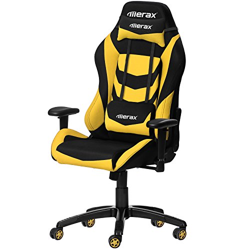Merax Racing Style Office Chair Gaming Ergonomic with Adjustable Armrests Home Office Computer Chair (Yellow)