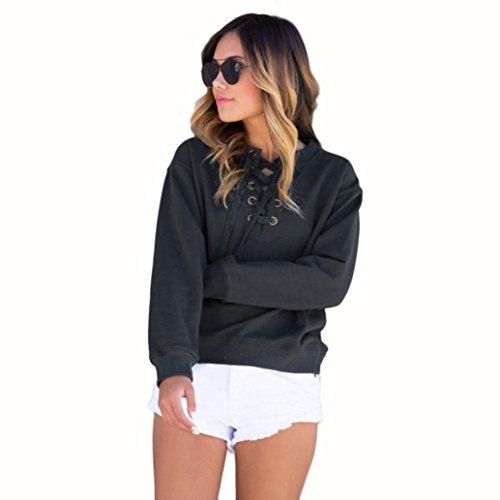camicia pullover felpa Koly casuale cime maniche cappotto scuro donne Grigio ponticello a Nuove lunghe qZwgfw8x0