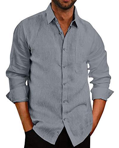 (Pengfei Mens Long Sleeve Shirts Linen Cotton Button Down Fishing Tees Spread Collar Plain Summer Shirts)
