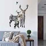 Dendenxiaopu Vintage Forest Deer Flying Birds Wall Stickers For Living Room Restaurant Office Decor Wall Decals Art Mural Poster 109X78cm