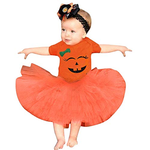 iYBUIA Halloween Costume Smile Printed Toddler Newborn Baby Girls Cartoon Romper Skirt Outfits Set(Orange,90)
