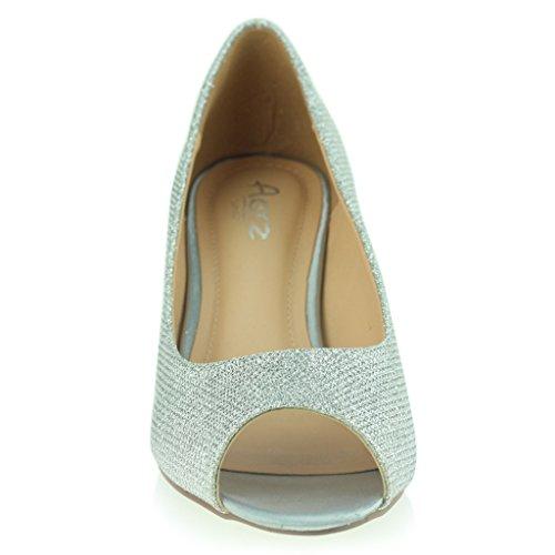Mujer Señoras Noche Fiesta Boda Prom Peeptoe Femenino Trémulo Tacón Medio Sandalias Zapatos Talla Plata