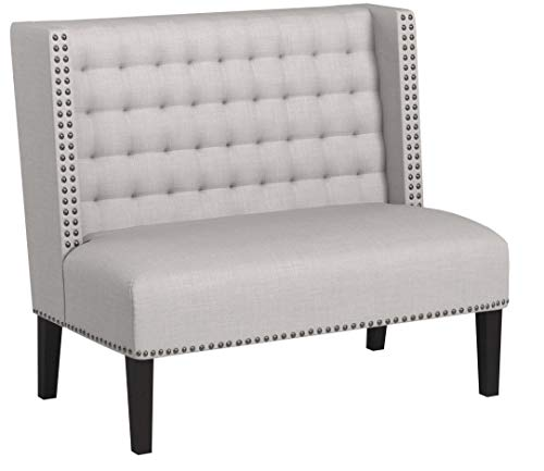 Ravenna Home Sarah Tufted Wingback Nailhead Trim Loveseat Bench Settee, 32W, Light Grey