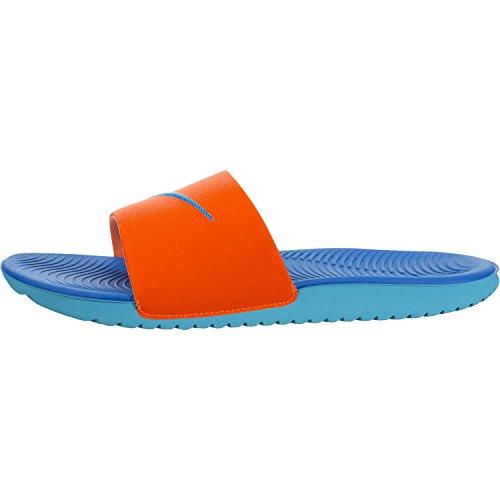 (NIKE Kids' Kawa Slide Sandal, Orange/Blue/White, 4 M US Big Kid)