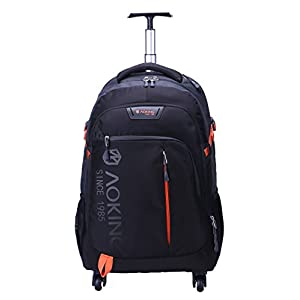 AOKING 20/22 Inch Water Resistant Travel School Business Rolling Wheeled Backpack with Laptop Compartment (Black, 22 Inch)