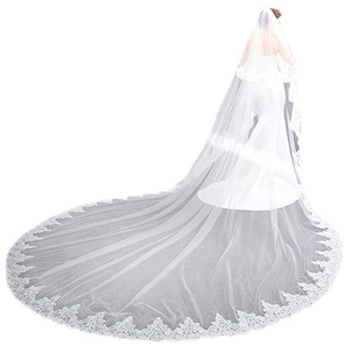 EllieHouse Women's 2 Tier Cathedral Lace White Wedding Bridal Veil With Comb L01WT Bridal Gown Cathedral Train