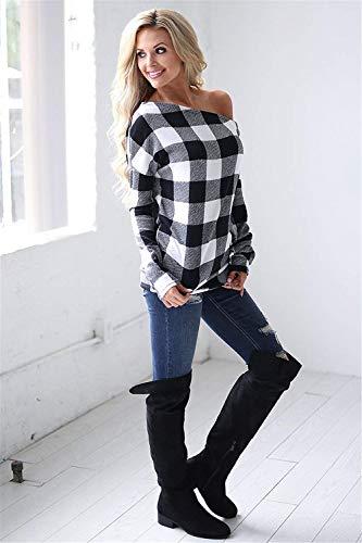 Donna Stlie Grazioso Lunga Reticolo Shirt Primaverile Casuali Vintage Camicetta Blusa Senza Fashion Spalline Autunno Nero Eleganti Manica Tops CCprfwa